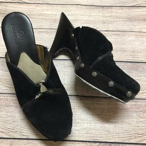 Cole Haan Black Suede Studded Mules Size 8
